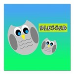 BLESSED (Owls) Square Car Magnet 3