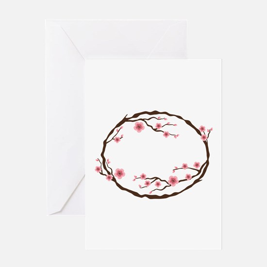 Cherry Blossom Flowers Wreath Greeting Cards