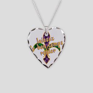 Mardi Gras Bon Temps Rouler Necklace Heart Charm