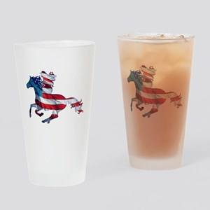 American Western Horse Cowgirl Drinking Glass