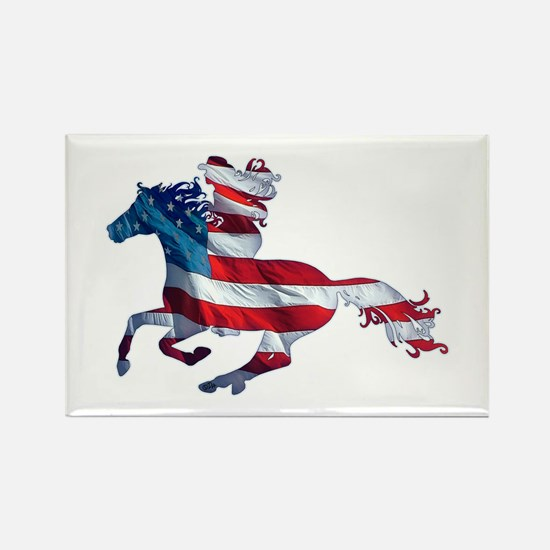 American Western Horse Cowgirl Rectangle Magnet