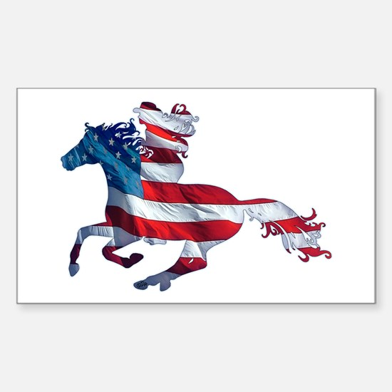 American Western Horse Cowgirl Sticker (Rectangle)