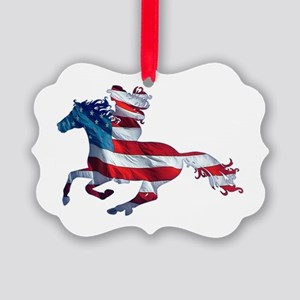 American Western Horse Cowgirl Picture Ornament