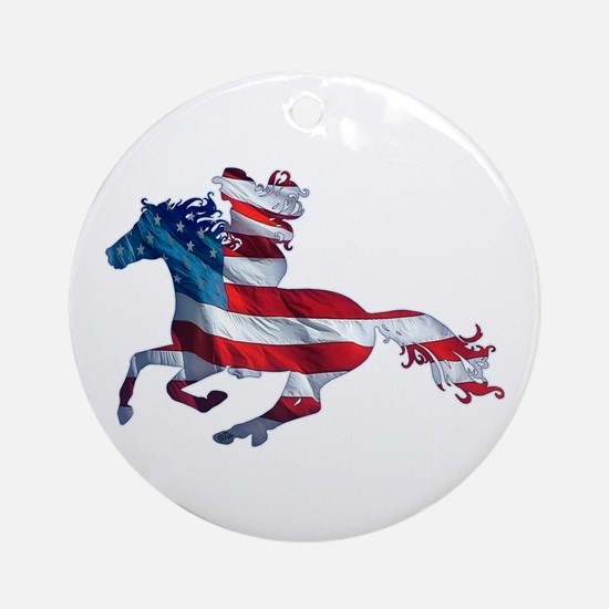 American Western Horse Cowgirl Ornament (Round)