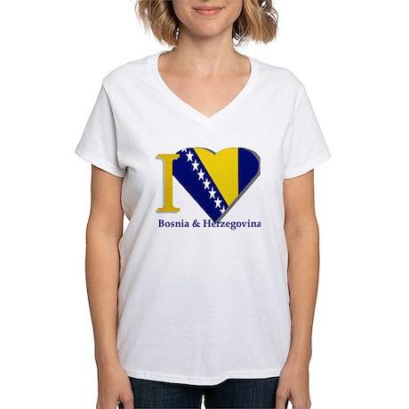 I Love Bosnia & Herzegovina Women's V-Neck T-Shirt