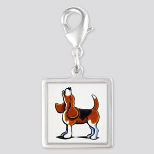 Tricolor Beagle Bay Silver Square Charm