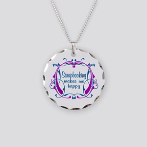 Scrapbooking Happiness Necklace Circle Charm