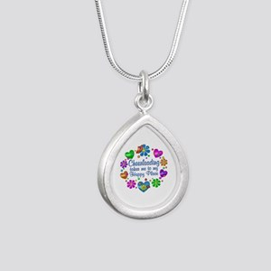Cheerleading My Happy Pl Silver Teardrop Necklace