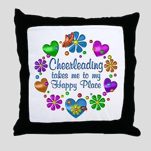 Cheerleading My Happy Place Throw Pillow