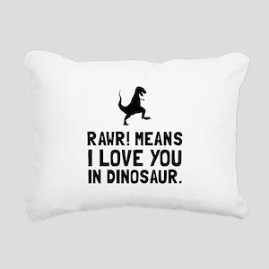 Rawr Love Dinosaur Rectangular Canvas Pillow