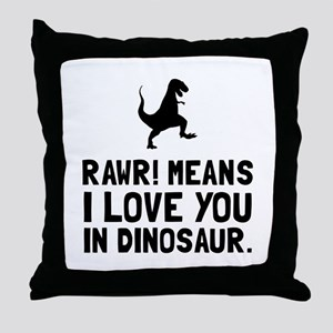 Rawr Love Dinosaur Throw Pillow