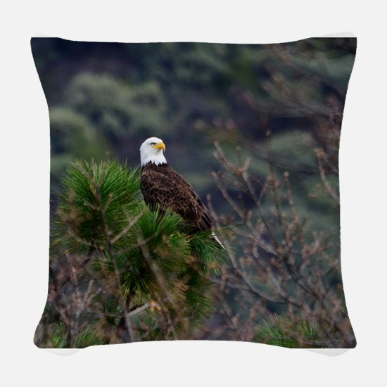Bald Eagle on a Pine Tree Woven Throw Pillow