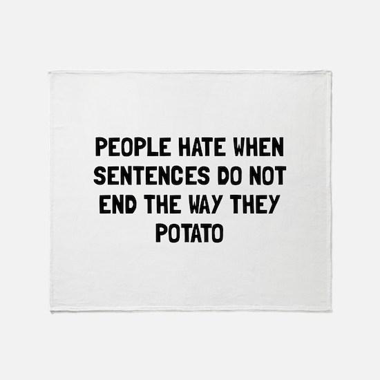 Sentences Potato Throw Blanket