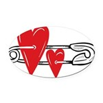 Baby Pin with Hearts Oval Car Magnet