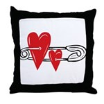 Baby Pin with Hearts Throw Pillow