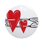 Baby Pin with Hearts Ornament (Round)