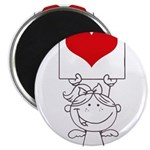 Cartoon Stick Cupid Girl with Banner Magnets