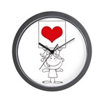 Cartoon Stick Cupid Girl with Banner Wall Clock