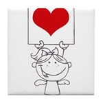 Cartoon Stick Cupid Girl with Banner Tile Coaster