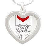 Cartoon Stick Cupid Girl with Banner Necklaces
