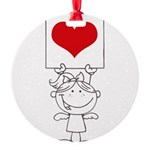 Cartoon Stick Cupid Girl with Banner Ornament