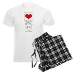 Cartoon Stick Cupid Girl with Banner Pajamas