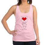Cartoon Stick Cupid Girl with Banner Racerback Tan
