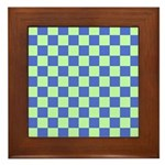 Blue Green Checks Framed Tile
