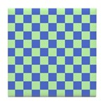 Blue Green Checks Tile Coaster