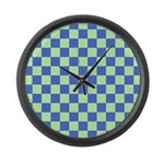 Blue Green Checks Large Wall Clock