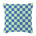 Blue Green Checks Woven Throw Pillow