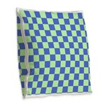 Blue Green Checks Burlap Throw Pillow
