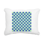 Blue Green Checks Rectangular Canvas Pillow