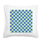 Blue Green Checks Square Canvas Pillow