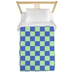 Blue Green Checks Twin Duvet