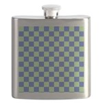 Blue Green Checks Flask
