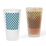 Blue Green Checks Drinking Glass