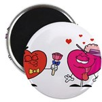 Romantic Heart Giving Flowers Magnets