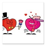 Romantic Heart Giving Flowers Square Car Magnet 3