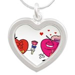 Romantic Heart Giving Flowers Necklaces