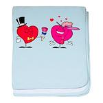 Romantic Heart Giving Flowers baby blanket