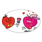 Romantic Heart Giving Flowers Sticker