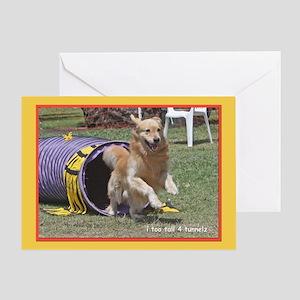 Golden Retriever Tunnels Birthday Greeting Card