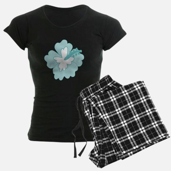 Blue Hibiscus Flower Pajamas