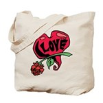 Love Heart with Rose Tote Bag