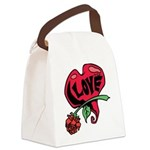 Love Heart with Rose Canvas Lunch Bag