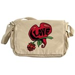 Love Heart with Rose Messenger Bag