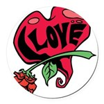 Love Heart with Rose Round Car Magnet