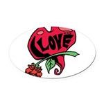 Love Heart with Rose Oval Car Magnet