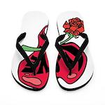 Love Heart with Rose Flip Flops